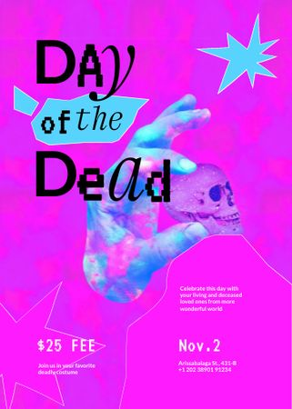 Day of the Dead Celebration with Hand holding Skull Invitation – шаблон для дизайна