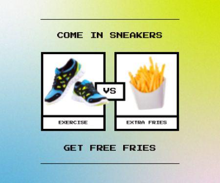 Plantilla de diseño de Sneakers Offer with Free Fries Medium Rectangle