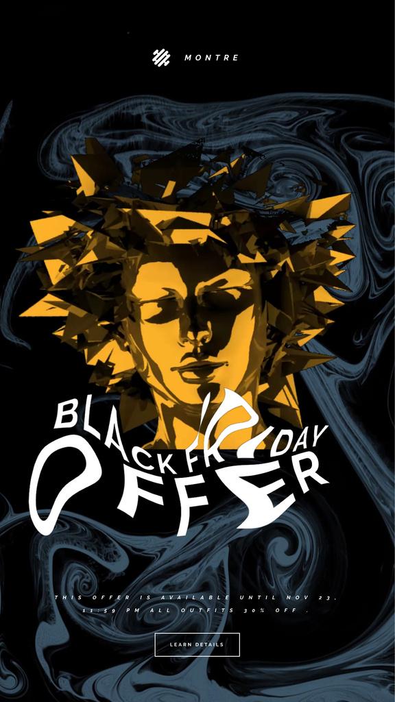 Black Friday Sale Golden Female Face —デザインを作成する