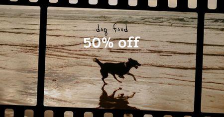 Happy Dog running on Beach Facebook AD Design Template