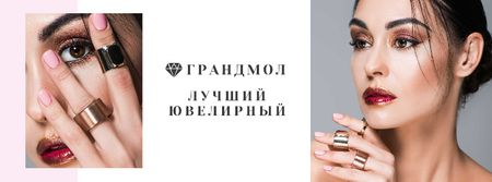 Jewelry Store Ad with Girl in Precious Rings Facebook cover – шаблон для дизайна