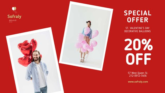 Plantilla de diseño de Valentine's Day Couple with Balloons in Red Full HD video