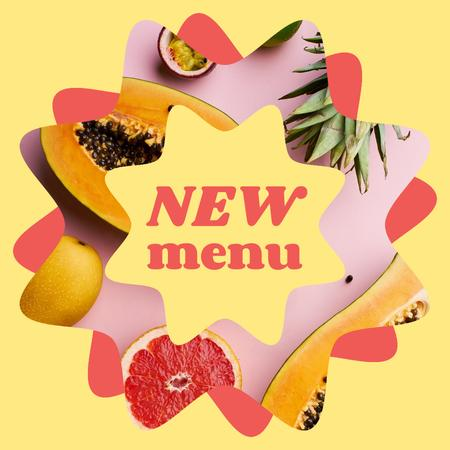 Plantilla de diseño de New Summer Menu Ad with Fresh Tropical Fruits Instagram