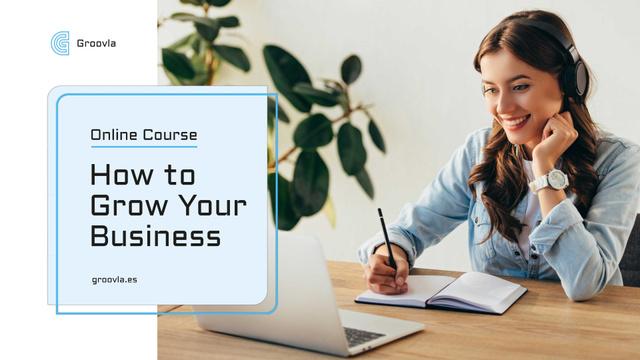 Plantilla de diseño de Online Courses ad Girl Studying with Laptop Full HD video