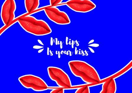 Ontwerpsjabloon van Card van Cute Love Phrase with Red Leaves
