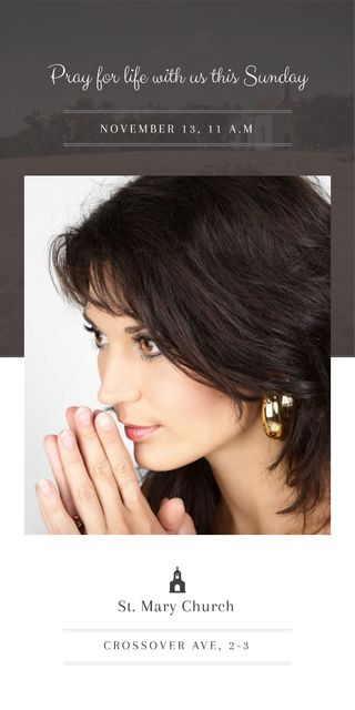 Church invitation with Woman Praying Graphic Modelo de Design