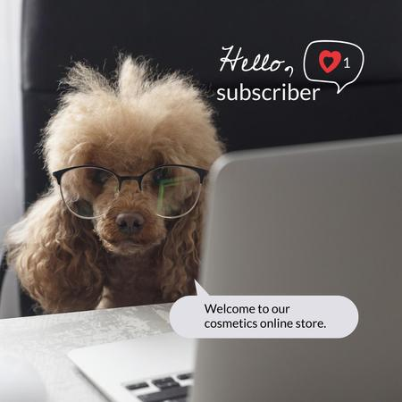 Cosmetics Store Ad with Funny Puppy in Glasses Instagram – шаблон для дизайну