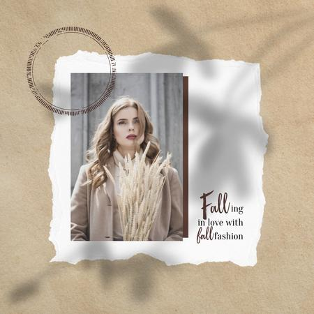 Autumn Fashion Inspiration with Woman in Stylish Outfit Instagram Design Template