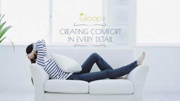 Woman resting on Cozy Sofa