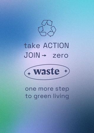 Zero Waste concept with Recycling Icon Poster Design Template