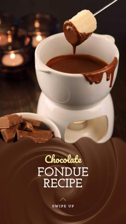 Chocolate Fondue Recipe Ad Instagram Story Design Template
