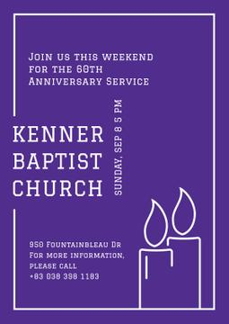 Baptist Church Invitation with Candles
