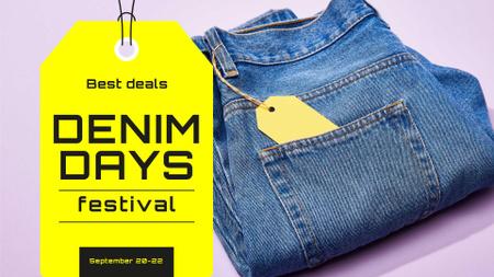 Plantilla de diseño de Denim Days Announcement with Tag in Jeans Pocket FB event cover