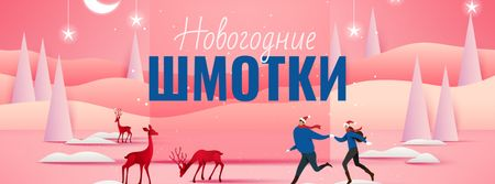 New Year Clothes Offer with People and Deers Facebook cover – шаблон для дизайна