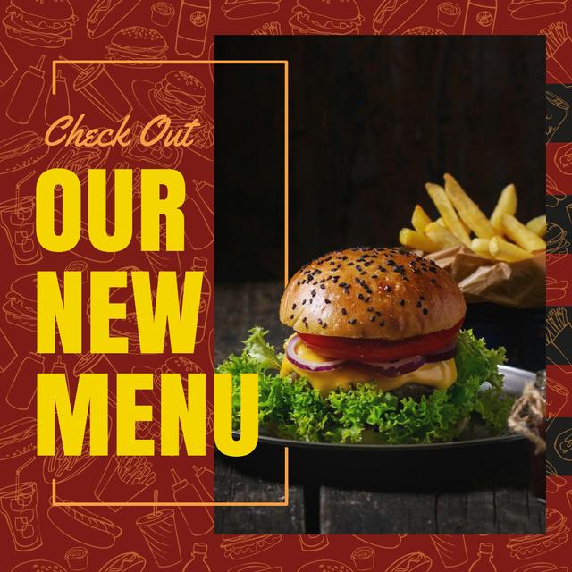 Plantilla de diseño de Tasty burger and french fries Instagram