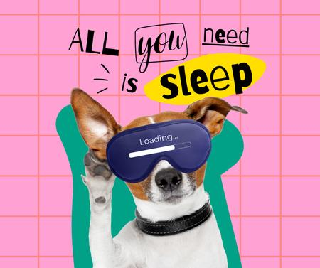 Template di design Funny Cute Dog in Sleep Eye Mask Facebook
