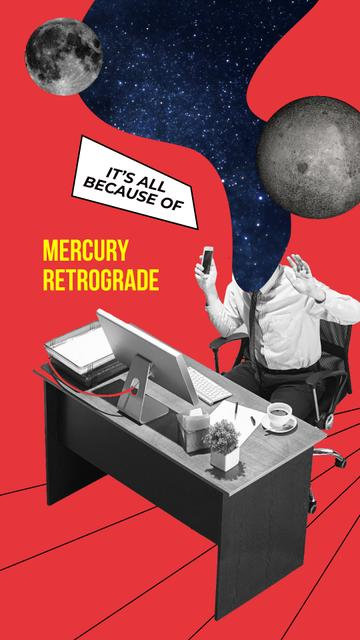 Funny Joke about Mercury Retrograde with Businessman on Workplace Instagram Story Modelo de Design