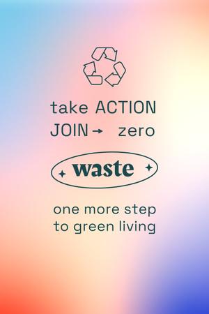Zero Waste concept with Recycling Icon Pinterest Modelo de Design