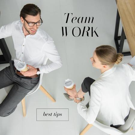 Ontwerpsjabloon van Instagram van Team Work concept with Colleagues in office