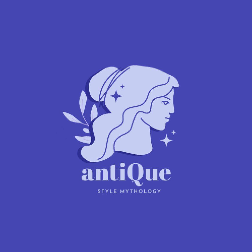 Fashion Ad with Antique Female Statue Illustration Logoデザインテンプレート