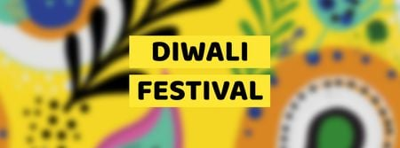 Diwali Festival Announcement on bright pattern Facebook cover Design Template