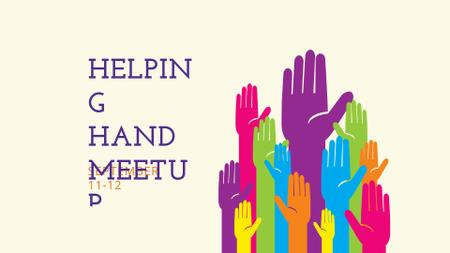 Charity Ad with People giving Hands FB event cover Modelo de Design