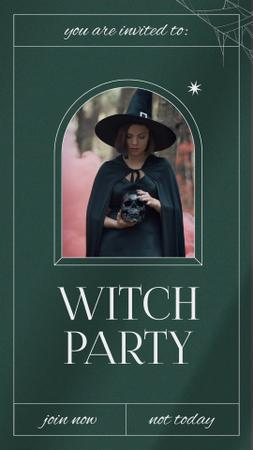 Szablon projektu Halloween Party Announcement with Girl in Witch Costume Instagram Video Story