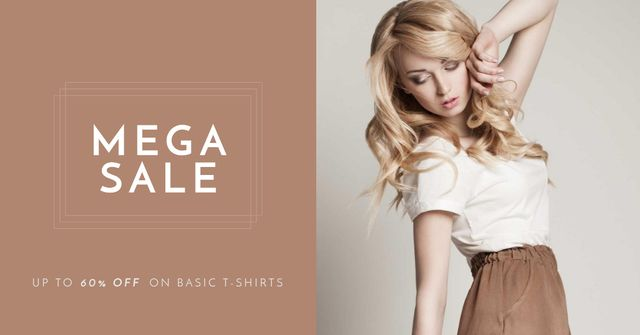 Fashion Sale Ad with Attractive Blonde Facebook AD Design Template