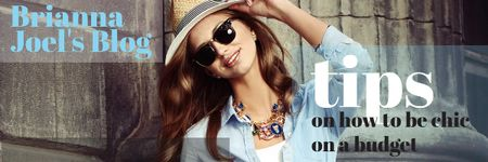 Modèle de visuel Blog Promotion with Stylish Woman - Email header