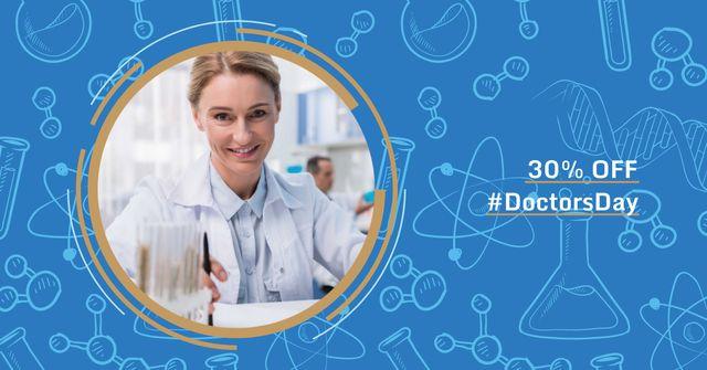 Plantilla de diseño de Sale Offer on Doctors Day Facebook AD