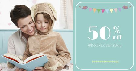 Book Lovers Day Offer with Woman and Child reading Facebook AD Modelo de Design