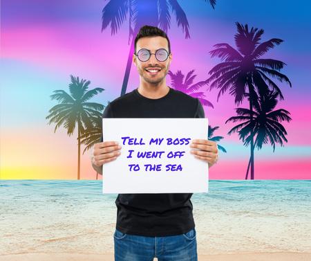Modèle de visuel Funny Businessman with Palm Trees Silhouettes - Facebook