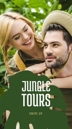 Plantilla de diseño de Travel Tour Offer couple in Jungle Instagram Story