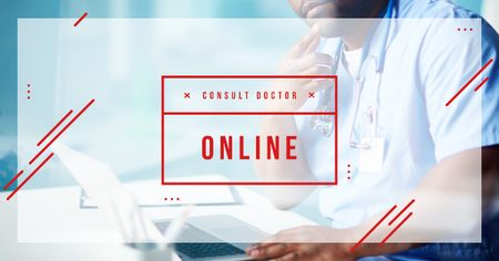 Plantilla de diseño de Online Consultation Ad Thoughtful Doctor in Clinic Facebook AD