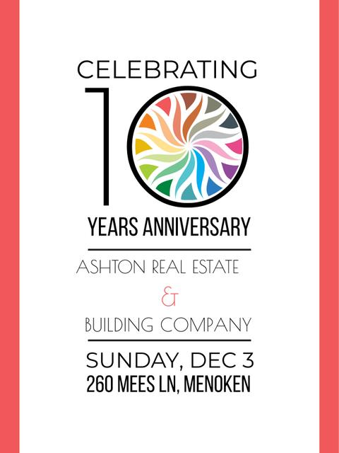 Celebrating company 10 years Anniversary Poster US Design Template