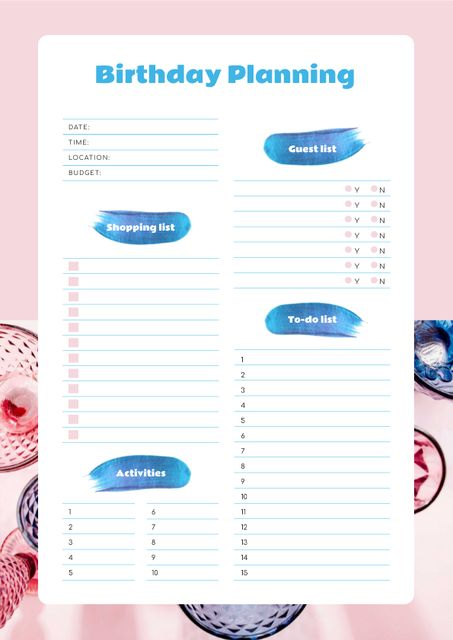 Birthday List with glitter Schedule Plannerデザインテンプレート