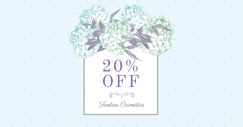 Cosmetics Sale Discount Offer with Tender Flowers Facebook AD Design Template
