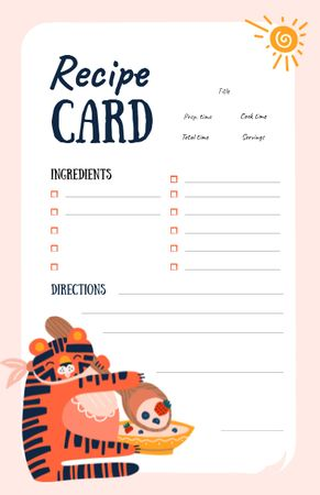 Ontwerpsjabloon van Recipe Card van Funny fat Tiger eating Meat Dish