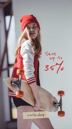 Stylish Young Girl with skateboard Instagram Story Modelo de Design