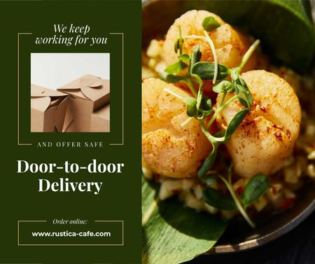 Food Delivery Offer with Tasty Dish Facebook Modelo de Design