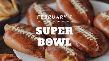 Super Bowl match Announcement Rugby Ball-Shaped Pies FB event cover – шаблон для дизайну