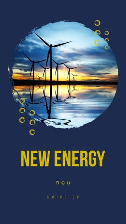 Plantilla de diseño de New Energy Ad with Wind Turbines Instagram Story