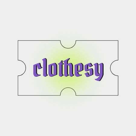 Clothing Store Ad with Tag Illustration Logo Design Template