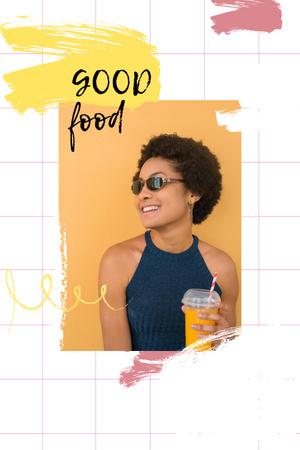 Designvorlage Smiling Woman with Orange Juice für Pinterest