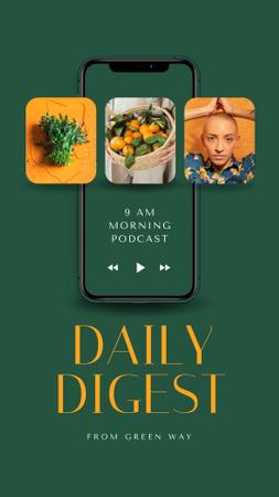 Ontwerpsjabloon van Instagram Video Story van Healthy Lifestyle Podcast Topic Announcement