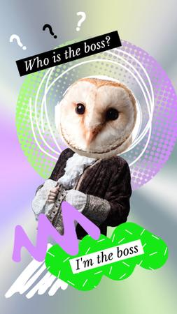 Template di design Funny Illustration of Man in Vintage Costume with Owl Head Instagram Story