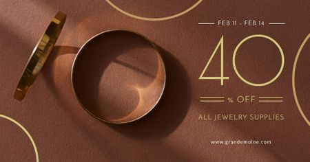 Valentine's Day Jewelry golden Rings Facebook ADデザインテンプレート