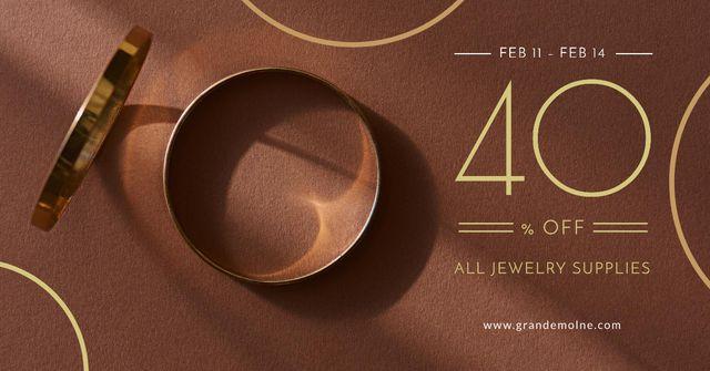 Plantilla de diseño de Valentine's Day Jewelry golden Rings Facebook AD