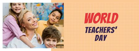 Modèle de visuel World Teachers' Day Announcement with Teacher and Kids - Facebook cover