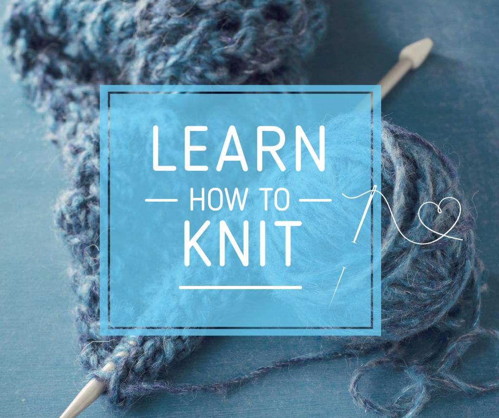 Knitting Workshop Needle and Yarn in Blue — Modelo de projeto